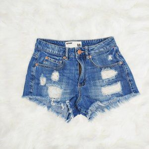 Garage High Rise Jean Shorts Distressed Blue